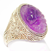 Antique Chinese Carved Amethyst Silver Filigree Ring