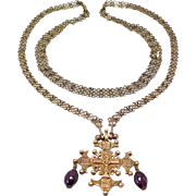 Incredible Ornate 800 Silver Filigree Chain & Cross With Garnets
