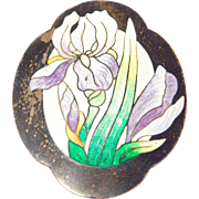 Art Nouveau Sterling Enamel Iris Brooch Large C. 1910