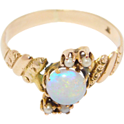 14K Victorian Rose Gold Opal & Seed Pearls Ring