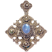 Large Ornate Moonstone Jerusalem Cross 900 Silver