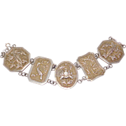 Ornate Wide Repousse Antique Silver Chinese Bracelet