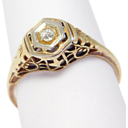 Edwardian 14K Yellow Gold Filigree Diamond Ring