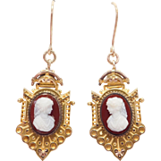 Victorian 10K Etruscan Sardonyx Agate Cameo Earrings