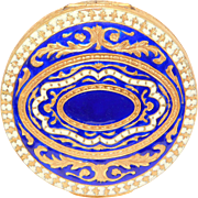 Beautiful Vintage Cobalt Enamel Gilt Metal Italian Compact