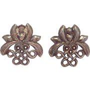 Vintage Stephen Dweck Ornate Sterling Earrings Clipon