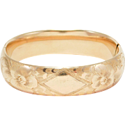 Victorian Engraved Gold Shell Wide Bangle Bracelet