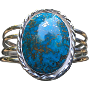 Amazing Morenci Turquoise Silver Cuff Bracelet