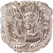 Ornate Large Silver Chinese Dragon Ring Signed