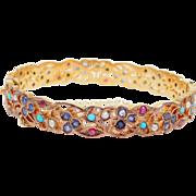 Beautiful Sterling Sapphire Ruby Seed Pearl Bangle Bracelet Vermeil
