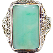 Antique Chinese Jade Silver Filigree Ring Pretty
