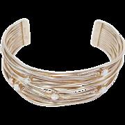 Beautiful Artisan Signed Sterling & Opals Cuff Bracelet