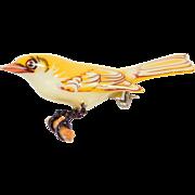 Pretty Takahashi Bird Yellow Hand Painted Pin