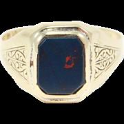 Art Deco Engraved Bloodstone Ring 1920s