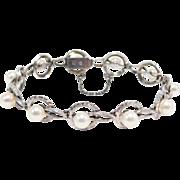 Vintage Mikimoto Silver 5.5 Mm Engraved Pearl Bracelet
