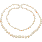 Antique Long Strand Of Angelskin Coral Beads