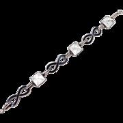 Art Deco Sterling Etched Crystal Domes & Enamel Bracelet