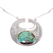 Beautiful Artisan Sterling Necklace With Royston Turquoise