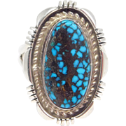 Robert Concho Navajo Silver Ring Nevada Blue Turquoise