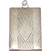 Oversize Art Deco Sterling Engraved Locket