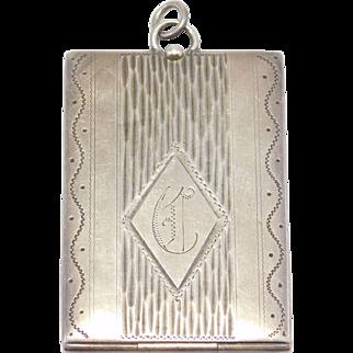 Oversize Art Deco Sterling Engraved Locket