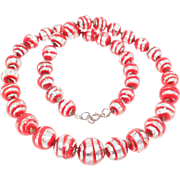 Red & Silver Czech Foil Glass Beads Perfect For Holidays