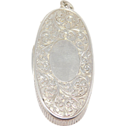 Victorian Silver Birmingham Matchsafe Vesta Pendant Or For Chatelaine