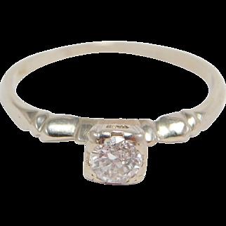 Art Deco .15 Old Cut Diamond Ring 14K Pretty