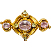Georgian Pink Topaz And Beryl 14K Repousse Brooch