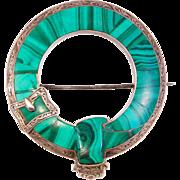 Victorian Scottish Agate Malachite Kilt Brooch Pin Silver