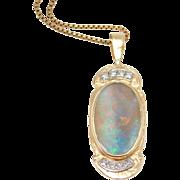 Estate Custom 10K Stunning Large Opal & Diamonds Pendant