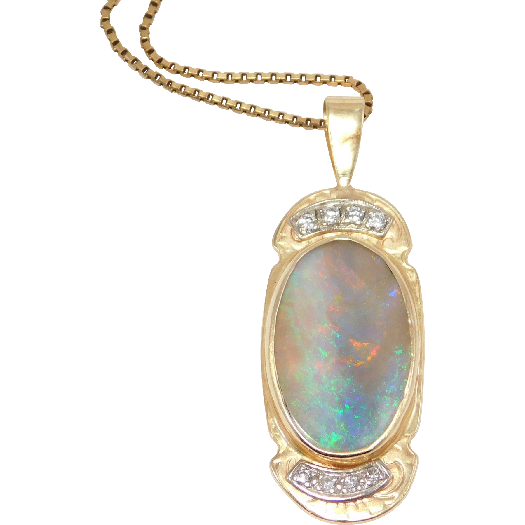 estate custom 10k stunning large opal diamonds pendant