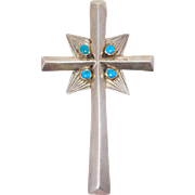 Heavy Old Silver Turquoise Southwest Cross Pendant