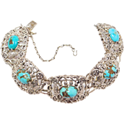 Ornate Old Chinese Silver & Turquoise Bracelet