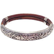 Old Chinese Rattan Silver Bats Ornate Bangle Bracelet