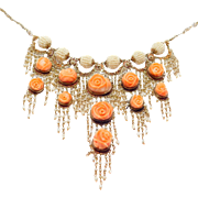 Rare Victorian Carved Coral & Seed Pearls Festoon Necklace