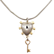 Thomas Mann Sterling And Mixed Metals Heart & Key Necklace