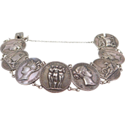 Antique French Hallmarked Sterling Bracelet With Greco Roman Medallions