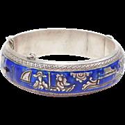 Ornate Wide Silver Chinese Cloisonne Bracelet Old