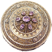 Ornate Filigree Etruscan Sterling & Amethyst Trinket Box