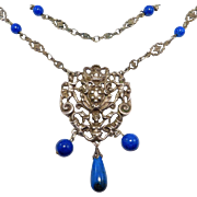Antique Italian 800 Silver Cupids & Sodalite Necklace Ornate Chain