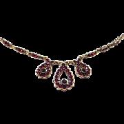 Elegant Silver Vermeil Rose Cut Garnets Necklace Antique