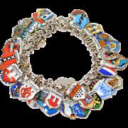 Heraldic Enamel Charms Bracelet 800 Silver 50 Charms