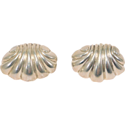 William Spratling Seashell Earrings Mexican Silver