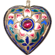 Unique Silver Enamel & Garnet Heart Pendant