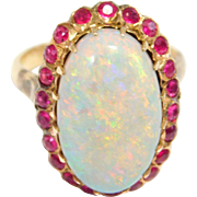 Incredible 18K Natural Rubies And Australian Opal Ring