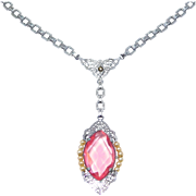 Elegant Art Deco Filigree Pink Necklace 1920