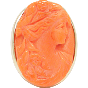 Victorian 14K Large Carved Coral Cameo Ring Gorgeous