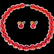 Cherry Amber Bakelite Beads W/Earrings Set Art Deco