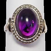 Pretty Art Deco Sterling Amethyst Cabochon Ring